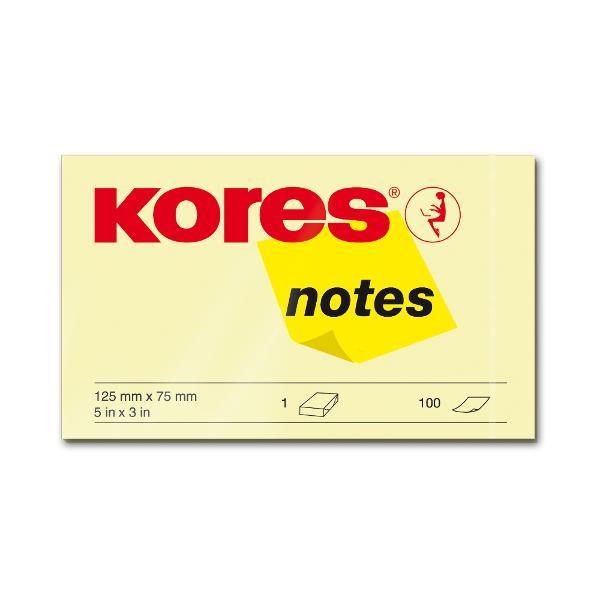 Notite adezive Kores 125 x 75 mm galben 100 file