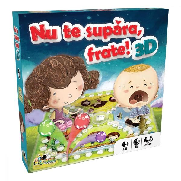 Pentru Baieti FeteVarsta 4 - 5 ani 5 - 7 ani 7 - 10 aniBrand Noriel GamesSuspansul competitia si distractia care fac din timpul tau liber o adevarata sarbatoare trec acum la urmatorul nivel Invita-ti prietenii si familia la sa ia parte la o experienta tridimensionala Nu te supara frate frate 3D este jocul clasic care te tine cu sufletul la gura Fiecare jucator isi alege o biluta si porneste din spatiul de START mutand biluta de-a lungul traseului in functie de