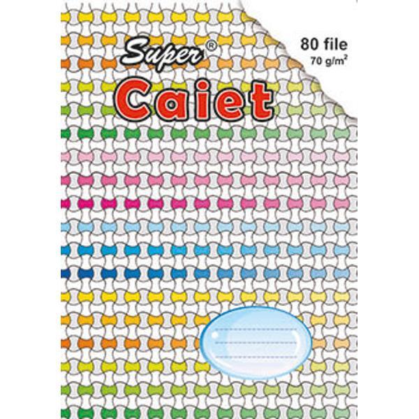 Super Caiet recomandat la scoalaCaiet fabricat in Romania de foarte buna calitatea din hartie groasa ce nu permite trecerea cernelii de pe o fila pe alta