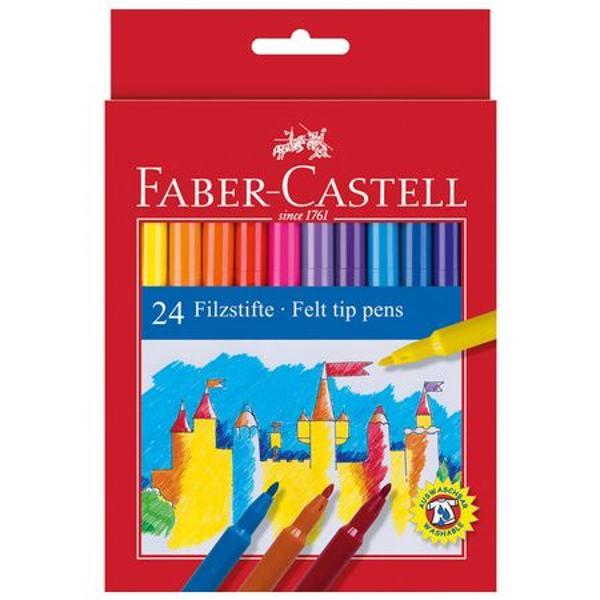 Carioci Faber Castell in culori luminoase si expresive de calitate deosebita Cariocile sunt prevazute cu un capac ventilat si un varf robust rezistent la presiune crescuta Cariocile au cerneala pe baza de apa si substante naturale Cariocile se pot curata de pe majoritatea materialelor textile Cariocile sunt potrivite pentru orele de desen si lucru manual de la scoala sau pentru gradinita Cariocile se livreaza ambalate in cutie de carton 24 culoricutie Nu sunt toxice