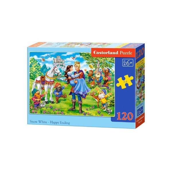 Puzzle de 120 de piese cuAlba ca Zapada - Sfarsit FericitDimensiuni cutie 245×175×37cmDimensiune puzzle 32×23cm Pentru cei cu varste peste 6 ani