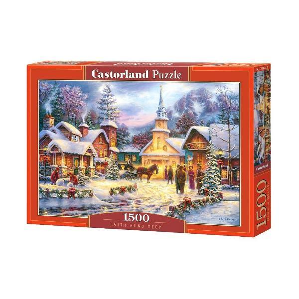 Puzzle de 1500 de piese cu Iarna in Sat Cutia are dimensiunile de 35×25×5cm iar puzzle-ul are 68×47cm Pentru cei cu varste peste 9 ani