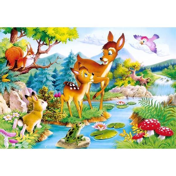 Un puzzle din 120 de piese care atunci cand este finalizat masoara 320 mm x 230 mmDimensiunea aproximativa a unei piese este de 613 cm2Imagine viu colorata cu o caprioara