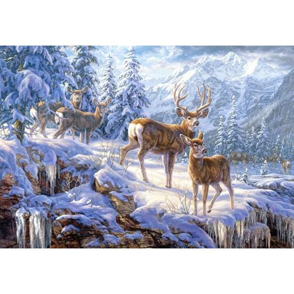 Un superb peisaj de munte iarnaDimensiune puzzle finit 680 mm x 470 mm