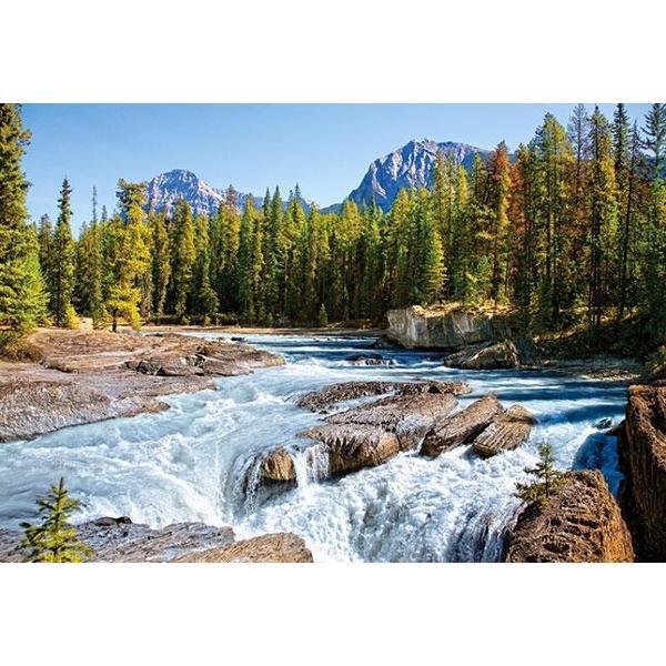 Un rau in peisaj montan raul Athabasca din CanadaDimensiune puzzle finit 680 mm x 470 mm