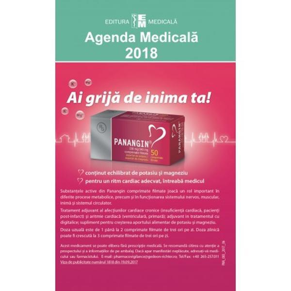 Ca în fiecare an apari&539;ia Agendei medicale este un eveniment editorial mult a&537;teptat Aceast&259; ultim&259; edi&539;ie 2018 îmbun&259;t&259;&355;it&259; &537;i ad&259;ugit&259; cuprinde reactualiz&259;ri de ultim&259; or&259; privitoare la medicamentele intrate în uz în România înregistrate &537;i eviden&355;iate cu denumirile comerciale DC precum &351;i monografiile aferente la denumirea comun&259; interna&539;ional&259;