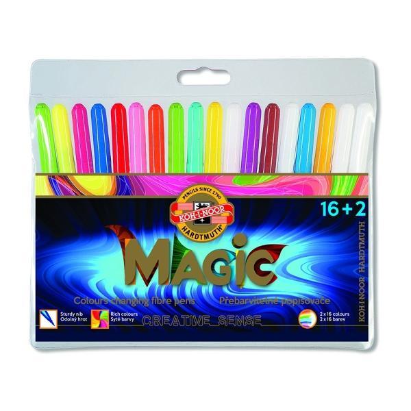 Set 16 markere colorate2 markerepentru stergere KOH-I-NOOR MAGICAmbalate in etui plasticColectiede 16 culori si inca 16 sunt obtinute dupa utilizareablenderului alb 32 în total Fabricat din materiale rezistente la uscare timp de cel pu&539;in 2 ani