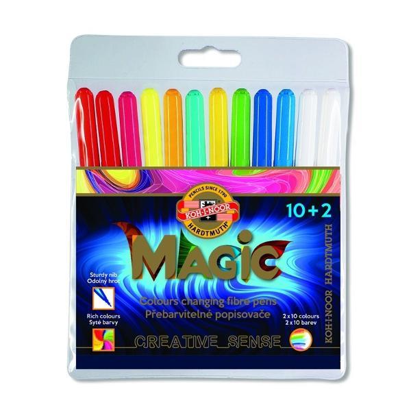 Set 10 markere colorate2 markerepentru stergere KOH-I-NOOR MAGICAmbalate in etui plasticColectiede 10 culori si inca 10 sunt obtinute dupa utilizareablenderului alb 20 în total Fabricat din materiale rezistente la uscare timp de cel pu&539;in 2 ani