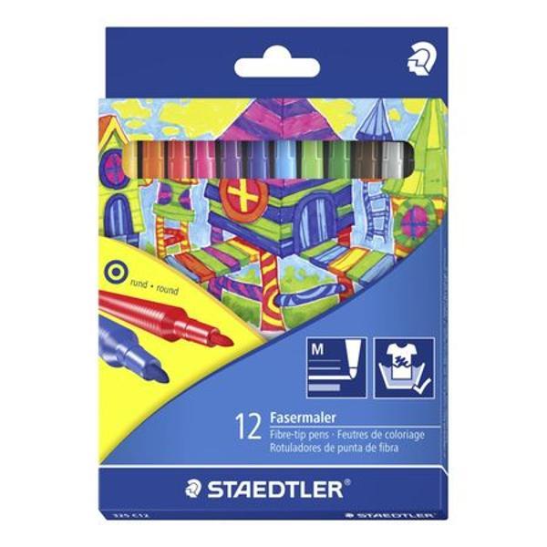 Set Carioca 12 culori  cutieSe spala cu usurinta de pe majoritatea materialelor textileCapac ventilat