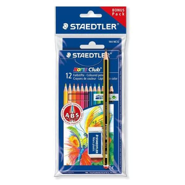 Creion color Staedtler cu A-B-S Acoperirea protectoarealba intareste mina si ii creste rezistenta la rupereCulori stralucitoareLemn din paduri certificateUsor de ascutit12 culori  set1 radiera si 1 creion marca Staedtler GRATIS