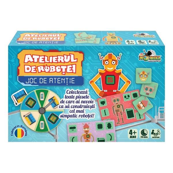 Pentru Baieti FeteVarsta 4 - 5 ani 5 - 7 ani 7 - 8 ani 8 - 10 aniBrand Noriel GamesGaseste si aduna jetoanele cu imagini si piese indicate pe plansa ta La sfarsit invarte sageata ruletei ca sa obtii un jeton cu circuit - ca sa-ti programezi robotelul - si un cartonas cu baterie - ca sa-l faci sa meargaPrimul jucator care aduna toate jetoanele si cartonasele indicate pe plansa lui castigaPachetul contine- 5 planse de joc cu roboteibr