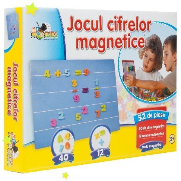 Noriel Jocul cifrelor magnetice Joc educativ Noriel Jocul cifrelor magnetice Joaca este cel mai bun profesor Pregateste-te sa descoperi sa inveti si sa creezi lucruri noi cu ajutorul tablitei si al semnelor magnetice Exploreaza lumea misterioasa a matematicii punand pe tablita litere cifre si simboluri   Contine 52 piese - 40 cifre magnetice - 12 semne matematice - Tabla magnetica Varsta recomandata 3 ani