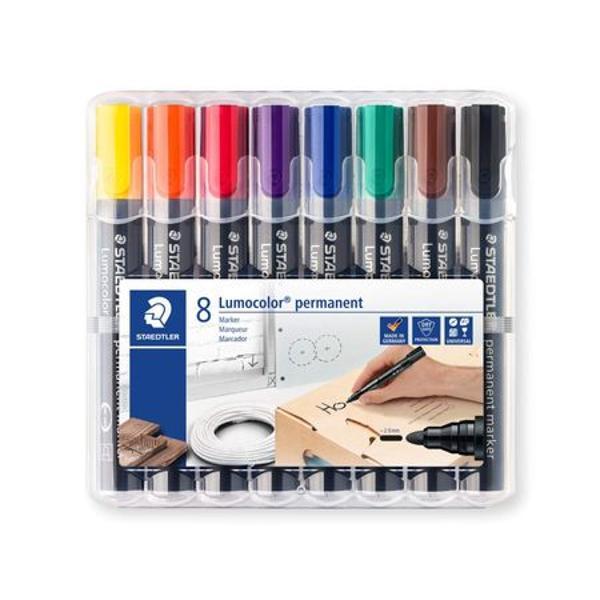 Corp din plasticIdeal pentru scris pe lemn metal carton si material plasticVarf rotundPotrivit si pentru stangaci deoarece cerneala se usuca repedeDisponibil in set de 8 culori  negru rosu verde albastru maro galben mov portocaliuScriere de 2 mm