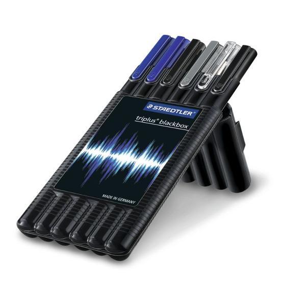 Setul continepix albastru roller negru creion mecanic 05 mm liner negru liner albastru textmarkergalben Instrumentele de scris vin ambalate intr-o cutie din plastic ce poate fi utilizata pentru depozitari ulterioare