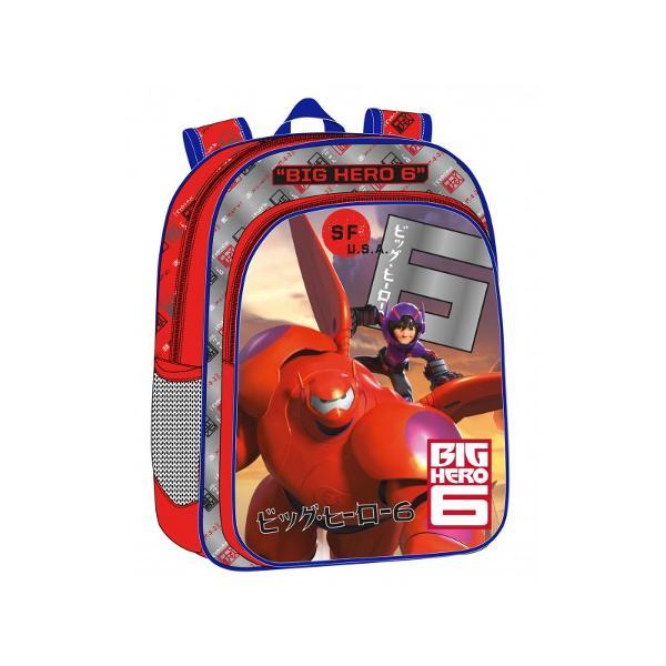 Ghiozdan de scoala Disney Big Hero 6 cu 1 compartiment 1 buzunarmaner fix bretele ajustabile  material microfibra  PVC imprimeu cu personajele din Big Hero 6 dimensiuni 30x40x16 cm