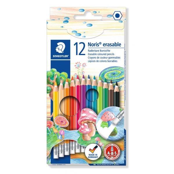 Creioane color in forma hexagonala cu mina care poate fi stearsaIdeal pentru scolari - erori minore pot fi corectate usorCu guma in capatMina foarte moale si bogat colorata12 culoriUsor de ascutit cu o ascutitoare de calitate ST 512 002Conform EN 71