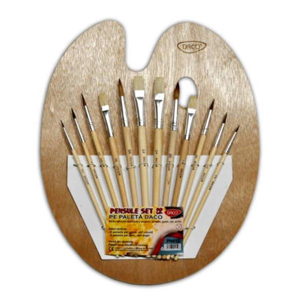 Paleta 12 pensuile8 pensule v&226;rf rotund p&259;r capr&259;;&8226; 4 pensule v&226;rf drept p&259;r porc; palet&259; lemn pentru amestecat culori
