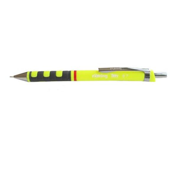 Creion mecanic realizat in designul clasic Rotring potrivit pentru o dimensiune a minei de 07 mm Corpul creionului este realizat din material plastic de foarte buna calitate si este prevazut cu grip ergonomic cu insertii din cauciuc ceea ce asigura o scriere comoda si usoara Varful si accesoriile creionului sunt realizate din metal Creionul este prevazut cu o radiera incorporata protejata de un capacel cromat