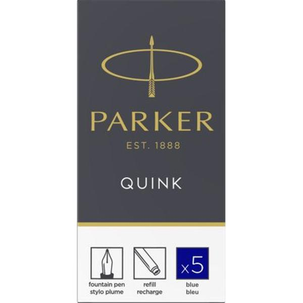 Cerneala permanenta de culoare albastra nu se sterge cu pic cu uscare rapida pe baza de pigmentContine - Cartus maxi-5 bucati- Cutie ambalaj originalaConsumabilele Parker au termen de valabilitate doi ani de la data fabricarii