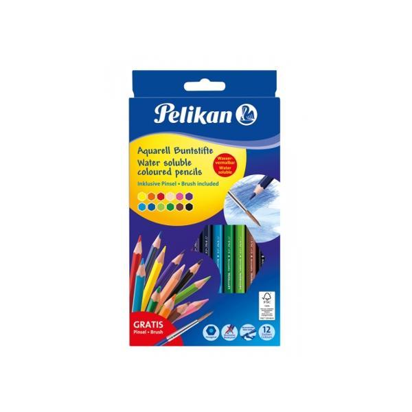 Set creioane color solubile in apa corp subtire sectiune hexagonala mina de 3 mm din lemn certificat 100 FSC 12 culoriset Pachetul include o pensula din plastic cu maner moale