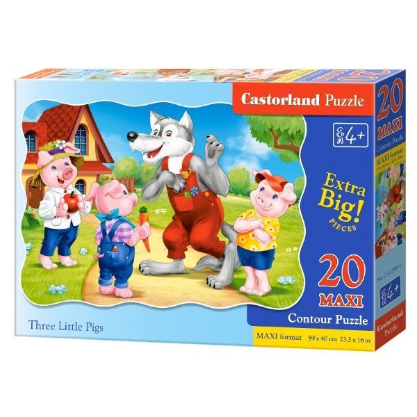 Puzzle 20 Maxi Three Little Pigs iti testeaza indemanareaAsambleaza piesele si descopera personajele din povestea Cei trei purcelusiPuzzle-ul este alcatuit din 20 piese de mari dimensiuniCalitatea este premium cartonul este gros si perfect taiatPuzzle-ul asamblat are urmatoarele dimensiuni 590 x 400 mmDescopera aceasta gama