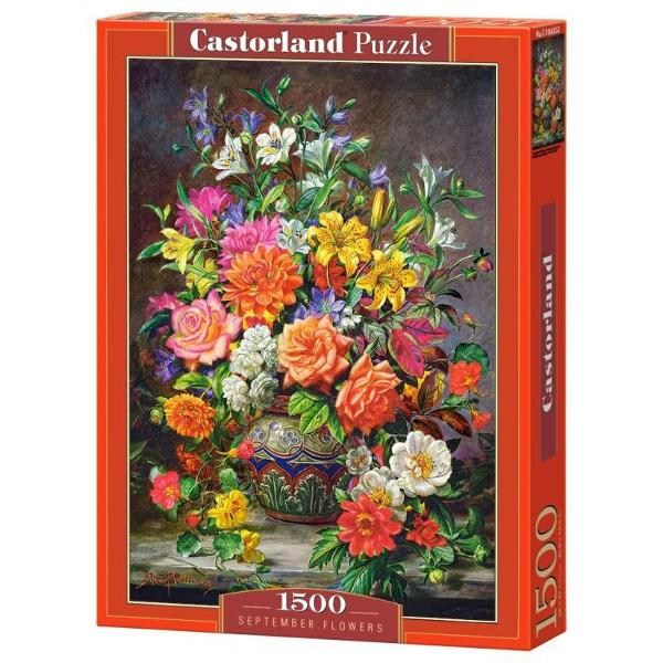 Puzzle de 1500 de piese cu Flori de Septembrie in mod portret Cutia are dimensiunile de 35×25×5cm iar puzzle-ul are 68×47cm Pentru cei cu varste peste 9 ani