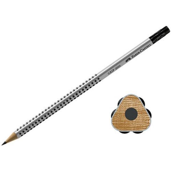 Creion grafit Faber Castell 2001 cu mina de duritate HB un creion grafit de cea mai buna calitate Creionul este prevazut cu o zona anti-alunecare GRIP patentata cu mici puncte de masaj pentru un confort deosebit in timpul scrisului Creionul este dotat cu o radiera moale si rezistenta Creionul are o forma triunghiulara ergonomica si este realizat din lemn moale de calitate pentru o ascutire comoda si usoara Tehnologia speciala de lipire a minei de corpul de lemn previne deteriorarea