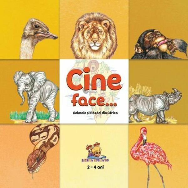 Cartea contine desenele colorate ale animalelor si pasarilor din Africa