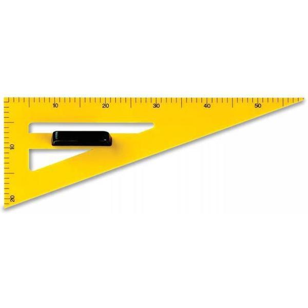 Echer pentru planseta sau tabla cu maner pe mijloc pentru a asigura o fixare precisa Laturile gradate ale echerului masoara 20 cm respectiv 60 cm