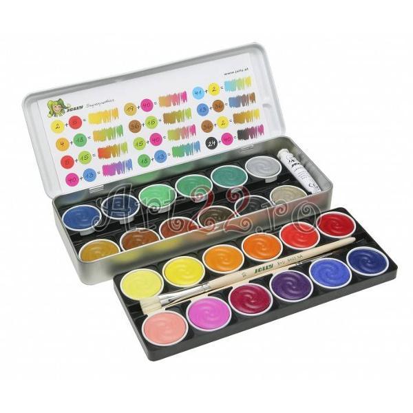 Acuarele Jolly 24 culori Include un tub de culoare alba si o pensula Produs de JOLLY-Austria