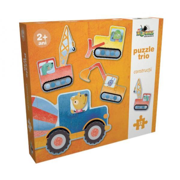Set de 4 mini-puzzle-uri simple cu vehicule de constructiiFiecare puzzle este alcatuit din 3 piese si ilustreaza un vehicul de constructii decupat pe conturVarsta recomandata 2 ani