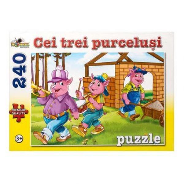 Puzzle-urile Noriel cu 240 de piese sunt distractive si educative pline de viata si de culoare Copiii vor invata sa gandeasca logic sa caute solutii sa recunoasca si sa potriveasca forme si culori Tot ce trebuie pentru joaca si invatareCei trei purcelusi este o poveste cunoscuta in intreaga lume pe care copilul dumneavoastra o va descoperi piesa cu piesa doar cu Noriel Pentru ca prin joaca se invata cel mai bineDimensiuni 42 x 28 cm