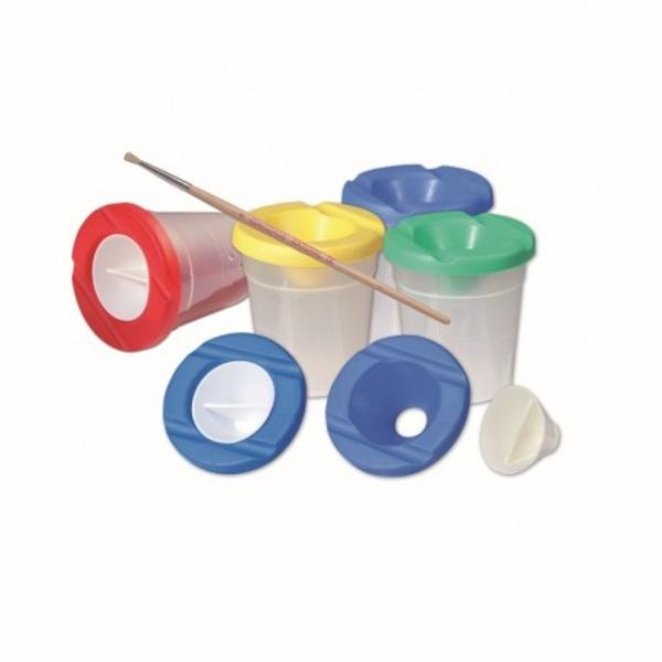 Vas din plastic pentru apa folosit in activitatile de picturaConfectionat din plastic moale  reducand astfel riscul de spargereCapacul este prevazut cu un dop pentru evitatea varsarii continutului
