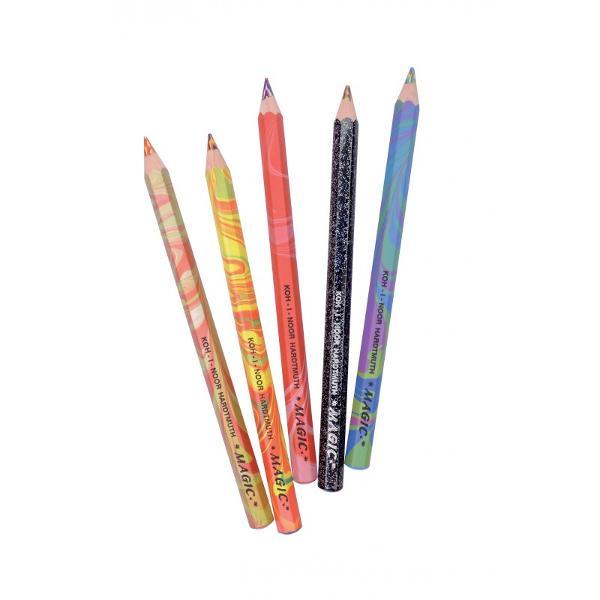 Creionul color Magic lasa o urma multicolora formand nuante si umbreCompozitia minei umbreste linia in asa fel incat sa lase urme diferite fara a fi necesara rotirea creionului in jurul axei saleChiar si o usoara schimbare a unghiului de desen va schimba diversitatea de culoriPentru a obtine efectul de umbra aveti nevoie de un singur instrument iar schimbarea unghiului de desen va avea efectul doritCompozitia speciala a