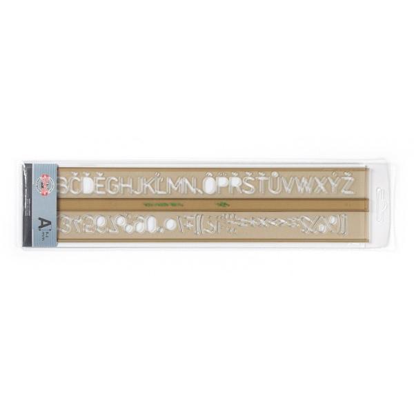 Rigla este confectionata din plastic transparent flexibil prevazuta cu sablon litere alfabet si cifre