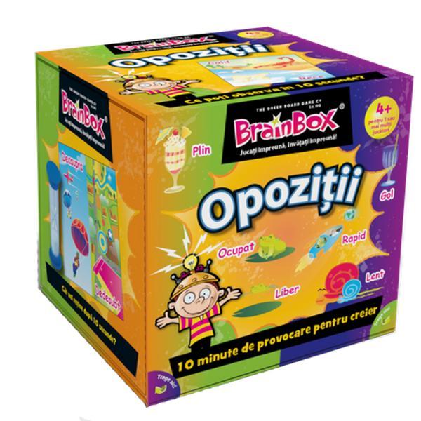 Joc educativ BrainBox OpozitiiCopiii cu varsta peste 4 ani pot afla despre antonime antiteze si lucruri opuse cu acest BrainBox frumos ilustrat Conceput pentru parinti sa se joace cu copiii lor acest joc minunat va imbunatati abilitatile de observare si memorie Indiferent daca jucatorii sunt mai in varsta sau tineri mari sau mici BrainBox Opozitii va oferi distractie pentru toata familiaDaca esti cel mai tanar jucator tragi un cartonas din cutie si intorci