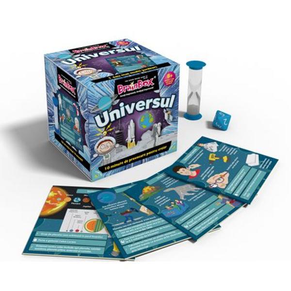 Joc educativ BrainBox UniversulBrainbox Universul este conceput pentru a fi jucat impreuna cu familia si prietenii Va imbunatati spiritul de observatie capacitatea de memorare si cunostintele despre cateva informatii din universul mare ne inconjoara si modul in care omenirea l-a exploratObiectivul jocului Fii jucatorul cu cele mai multe cartonase adunate dupa 10 minuteDaca esti cel mai tanar jucator tragi un cartonas din cutie si intorci clepsidra Studiezi