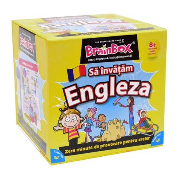 Joc educativ Brainbox  Sa invatam EnglezaCum se joaca BrainBoxObiectivul jocului Fii jucatorul cu cele mai multe cartonase adunate dupa 10 minutePentru 2 sau mai multi jucatori1 Alege un nivel de dificultate potrivit pentru fiecare jucator Primele patru intrebari pentru nivelul 1 nu presupun cunostinte de limba engleza si folosesc doar cuvintele in engleza care apar pe cartonas Jucatorii pot alege daca raspunsul la intrebare va fi dat in engleza sau in