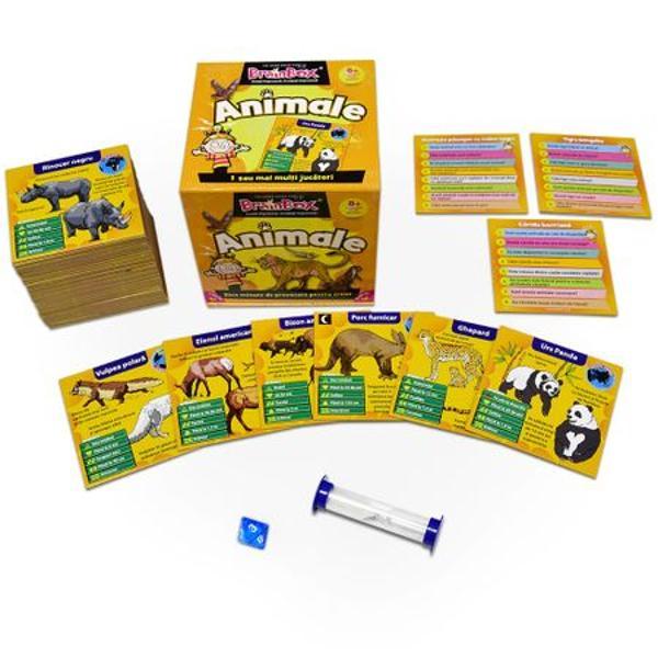 Joc educativ Brainbox AnimaleReunind animale din lumea intreaga acest BrainBox este conceput pentru a imbunatati spiritul de observatie si capacitatea de memorare a jucatorilor intr-un joc potrivit pentru intreaga familie Fiecare din cele 70 de animale frumos ilustrate are propriul cartonas cu informatii Incepand cu ursul grizzly continuand cu lemurul cu coada inelata si terminand cu simpaticul koala acest joc incantator da posibilitatea familiilor sa se joace si sa invete