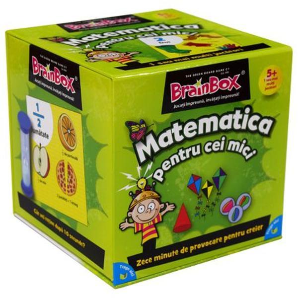 Joc educativ Brainbox Matematica pentru cei miciSpecial conceput pentru ca parintii si profesorii sa se poata juca cu copiii mai mici acest BrainBox va imbunatati spiritul de observatie si capacitatea de memorare si va introduce primele notiuni de matematica Cum se joaca BrainBoxObiectivul jocului Fii jucatorul cu cele mai multe cartonase adunate dupa 10 minuteDaca esti cel mai tanar jucator tragi un cartonas din cutie si intorci
