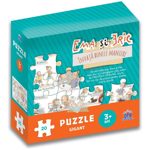 Cei doi Pofticio&537;i Ema &537;i Eric micii eroi ai îndr&259;gitelor c&259;r&539;i scrise de Prin&539;esa Urban&259; acum într-un joc de puzzle pentru podea Hai la joac&259;Cei mici înva&539;&259; bunele maniere în timp ce se joac&259; &537;i completeaz&259; puzzleul Nu numai c&259; ace&537;tia vor potrivi piesele dup&259; ilustra&539;iile de excep&539;ie realizate de Lavinia Trifan dar vor potrivi dup&259; cum este bine s&259; ne