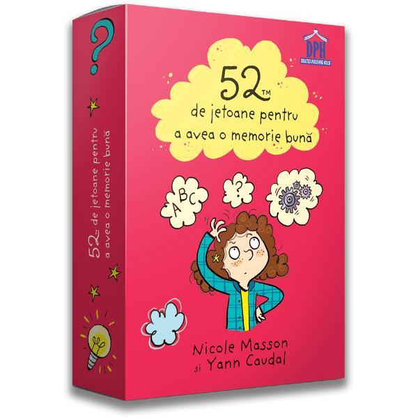 Cu ajutorul acestor jetoane minunate vei descoperi jocuri &537;i activit&259;&539;i pentru a avea o memorie deosebit&259; Nu vei uita niciodat&259; numerele de telefon zilele de na&537;tere &537;i mai ales lec&539;iile Distreaz&259;-te memorând poezii formule informa&539;ii istorice sau geografice pentru a-&539;i consolida memoria Î&539;i vei impresiona prietenii folosindu-&539;i cele cinci sim&539;uri ca un profesionist &537;i re&539;inând foarte