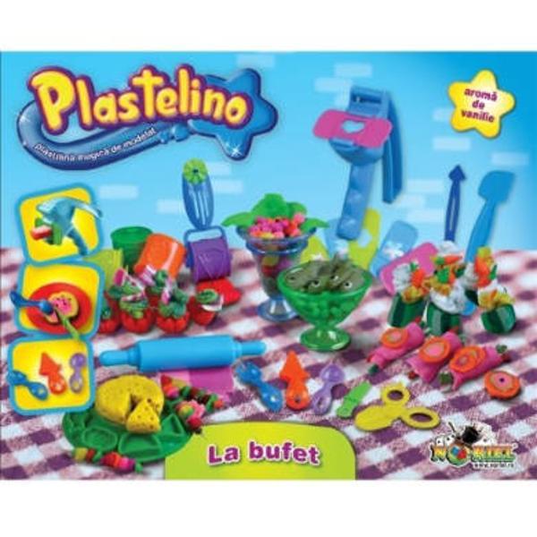Bine ai venit in lumea lui Plastelino Acesta este locul magic in care poti sa-ti imaginezi sa creezi sa construiesti la nesfarsit Aventura imaginatiei tale incepe acumSeturile tematice Plastelino contin plastilina de calitate cu aroma de vanilie si accesorii care ii permit copilului sa modeleze plastilina in cele mai trasnite si mai creative forme