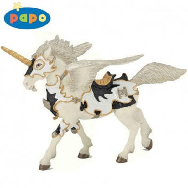 Figurina Papo-Pegasus unicorn alb-negruJucarie educationala realizata manual excelent pictata si poate fi colectionata de catre copii sau adaugata la seturile de joaca cum ar fi personaje de basm si legendaetcUn excelent stimulent pentru a extinde imaginatia copiilor dezvoltand multe oportunitati de joacaNu contine substante toxiceInaltimea aproxim 9 cmVarsta 3 ani Figurinele si accesoriile Papo sunt de o acuratete si fidelitate inalta fiind pictate manualColectia de jucarii