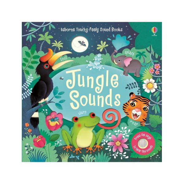 Little children can press the buttons on the pages of this book to hear the wonderful sounds of a jungle a hungry tiger roaring tropical birds singing and a noisy orang-utan who isn't yet ready for bed The colourful pages show the jungle at night the sun rising and more with simple text