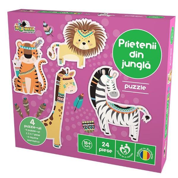 Fa-ti bagajele repejor pentru ca pleci in excursie In aventura ta prin jungla te insotesc leul tigrul zebra si girafa In jungla ai mereu verde la joacaContinut4 puzzle-uri 3 5 5 7 piese4 figurine orientative&8203;PentruBaieti FeteColectie puzzlePuzzle gigantNumar de piese 24Varsta1 - 4 ani