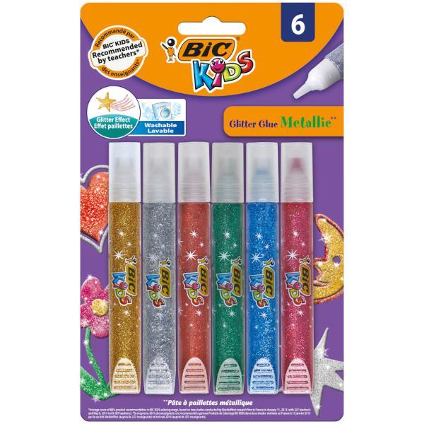 BIC Kids Glitter Glue se curata foarte repede si poate fi de asemenea folosit pentru a luminiza desenele pentru a infrumuseta invitatiile pentru cadre foto etc Simplu de utilizat si plin de stralucire - copiii isi pot exprima cu adevarat toate ideile creative Iar parintii nu pot fi mai fericiti deoarece acest adeziv se spala de pe cele mai multe tipuri de tesaturi De peste 65 de ani BIC produce articole de calitate BIC KIDS este o gama de instrumente de coloriaj special