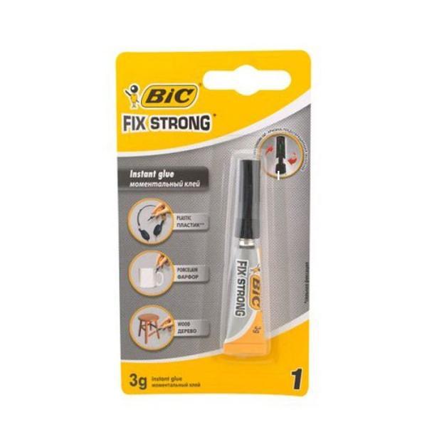 Lipici Super Glue 3 gr - Bic Fix StrongLipici super glue recomandat pentru lipire plastic cu exceptia polietilenei polipropilenei plasticului PTFE poliuretanului polistirenului expandat si a siliconului portelan-lemnRecomandare A se manevra cu grija Stergeti cu o carpa sau cu un servetel excesul de adeziv pentru a mentine varful tubului curat si pentru a inlatura adezivul de pe degete A se pastra si depozita intr-un loc rece si uscat A nu se lasa la indemana
