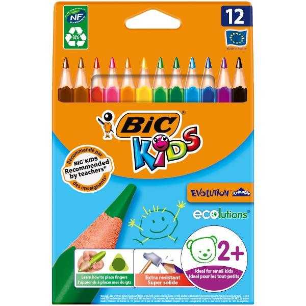 Creioanele de colorat BIC Kids Evolution Triangle au fost dezvoltate pentru a fi super durabile si sunt recomandate copiilor cu varsta minima de 2 ani Forma triunghiulara ii ajuta pe copii sa isi dea seama cum sa isi pozitioneze corect degetele ceea ce este o abilitate esentiala de care vor avea nevoie cand vor invata sa scrie ulterior Creioanele BIC Kids Evolution Triangle au o dimensiune de 14 cm si sunt special create pentru mainile mici ale copiilor Dimensiunea lor mai mare le face sa