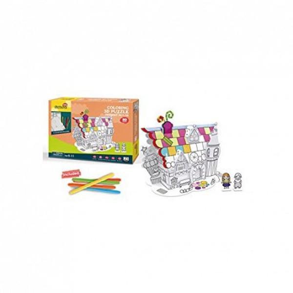 Puzzle-ul 3DDesset Housecombina doua activitati intr-una Mai intai construiesti puzzle-ul cu ajutorul intructiunilor apoi il colorezi Se asambleaza cu rapiditate iar cutia contine si un set de 5 creioane colorate cu ajutorul carora copilul tau poate sa isi exprime creativitateaPuzzle-ul contine32 de piese face parte dincolectia 3D a Cubic FunAceasta colectie cuprinde
